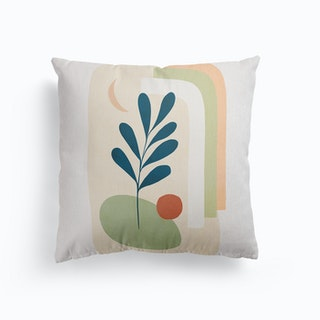 Earthy Tropical Foliage Blue 5 Canvas Cushion