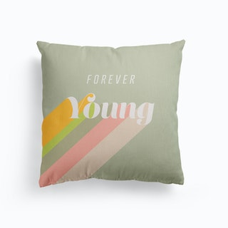 Forever Young Retro Stone Canvas Cushion