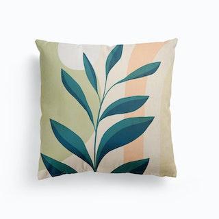 Earthy Tropical Foliage Blue 1 Canvas Cushion