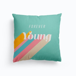Forever Young Retro Blue Canvas Cushion