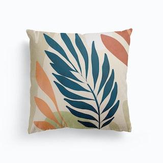 Earthy Tropical Foliage Blue 6 Canvas Cushion