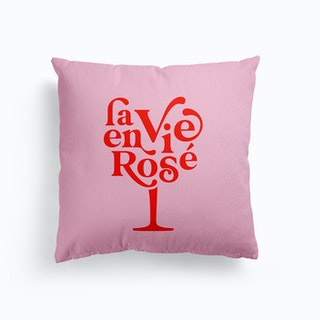 La Vie En Rosé Wine Glass Red On Pink Canvas Cushion
