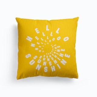 Hello Sunshine Yellow Canvas Cushion
