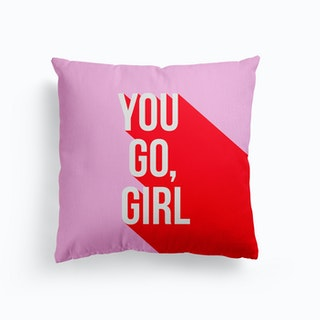 You Go Girl Power Red And Pink Canvas Cushion