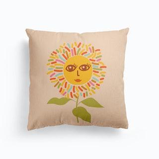 Sunflower Opened Eyes Peachy Boho Canvas Cushion