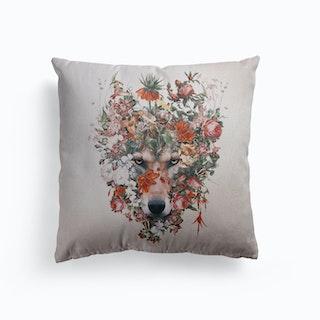 Flower Wolf Canvas Cushion
