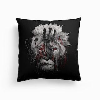 Lion Bw Canvas Cushion