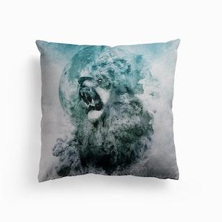 Lion Blue Canvas Cushion
