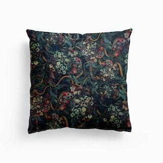 Skulls And Snakes Canvas Cushion