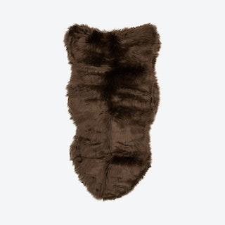 Sheepskin Area Rug - Dark Brown - Faux Fur