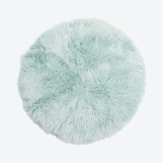 Round Area Rug - Teal - Faux Fur