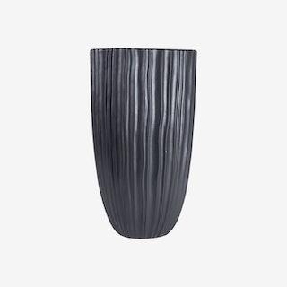 Loam Ribbed Tapered Cylinder Vase - Black