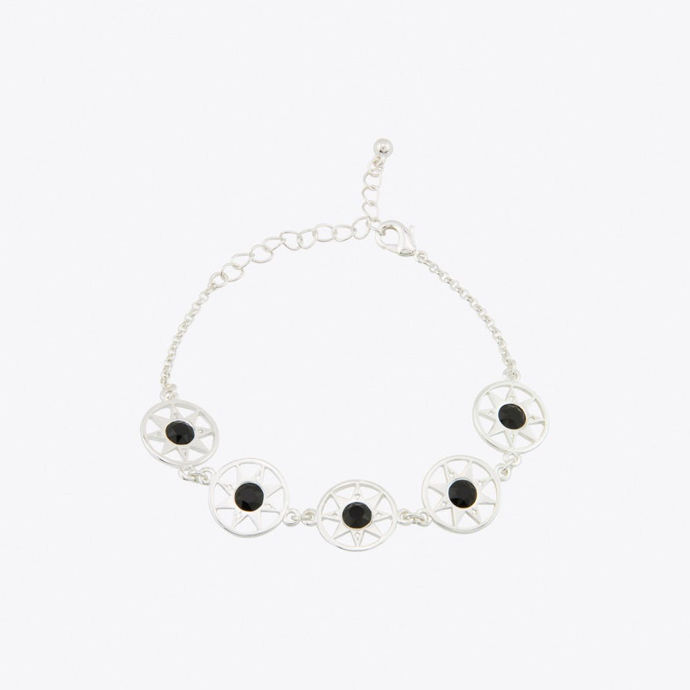Compass North Star Multi Link Bracelet in Silver
