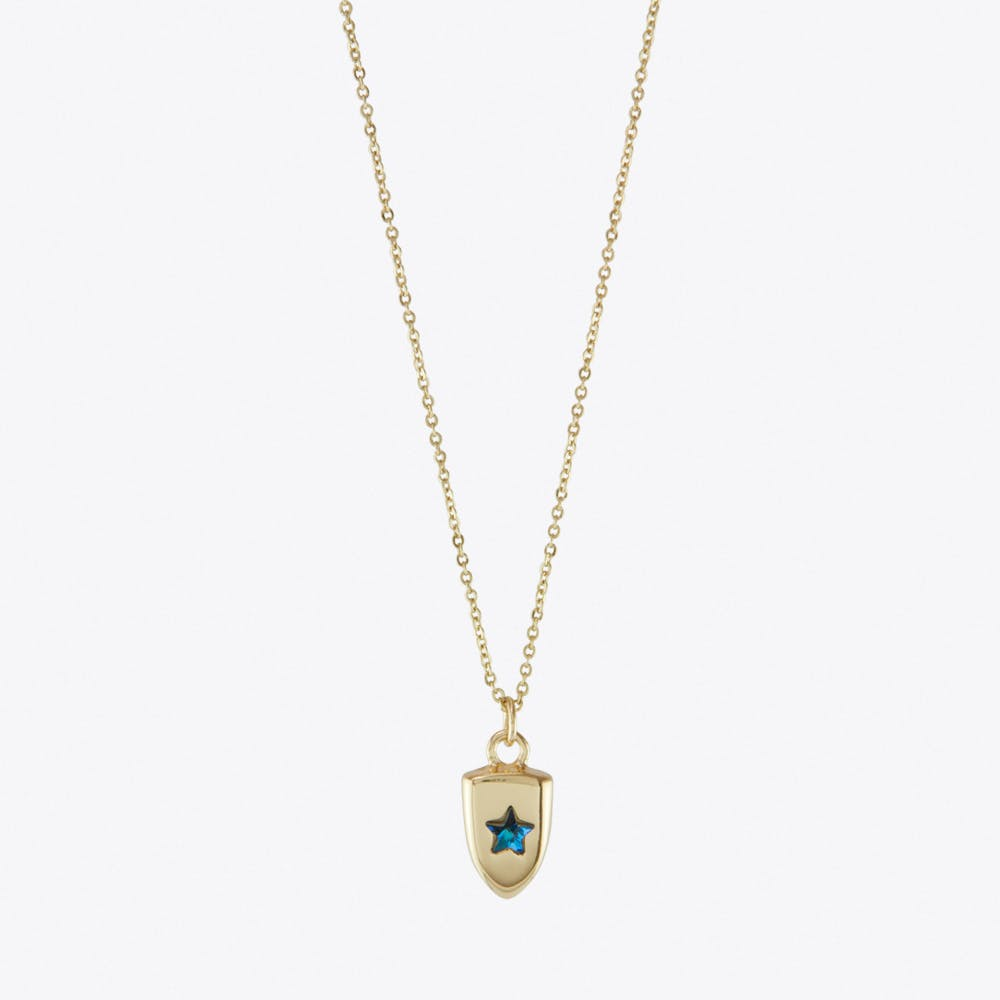 Blue Star Crystal Charm Necklace On Gift Card in Gold