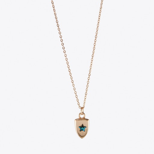 Blue Star Crystal Charm Necklace On Gift Card in Rose Gold