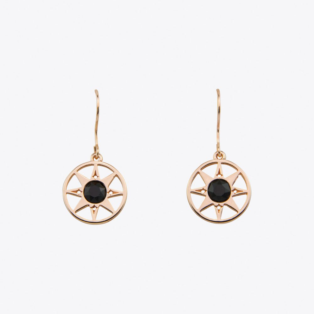 Compass North Star Earrings in Rose Gold