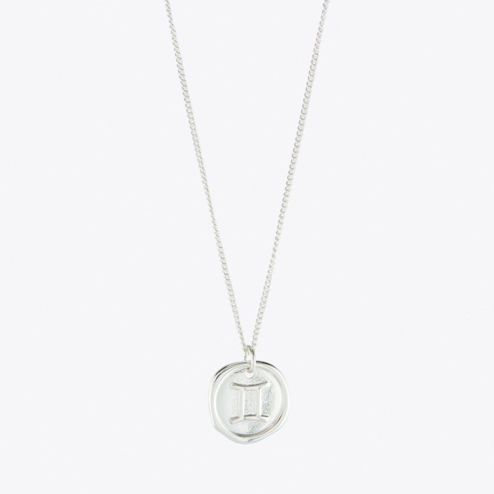 Gemini Zodiac Symbol Charm Necklace in Silver