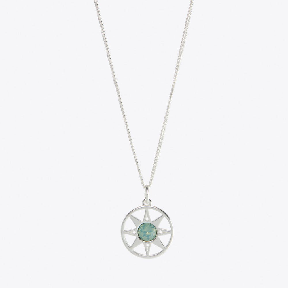 Compass North Star Charm Necklace in Silver