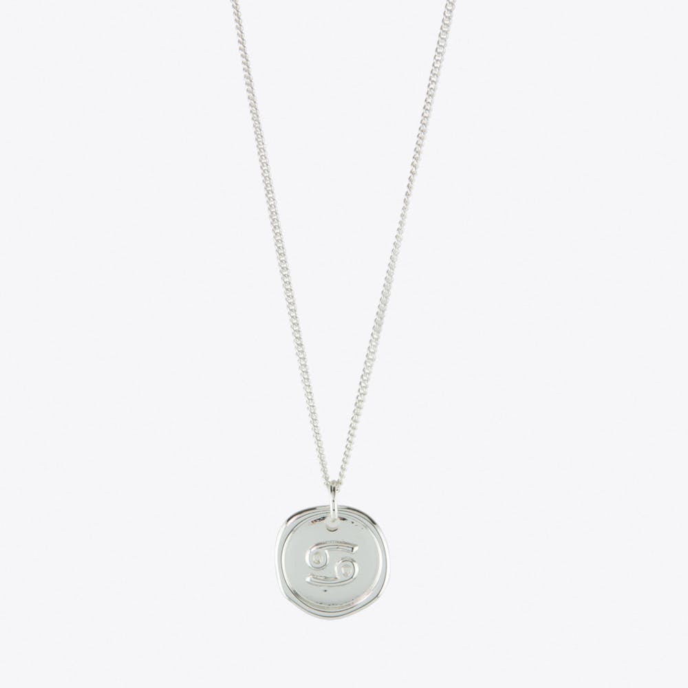 Cancer Zodiac Symbol Charm Necklace in Silver