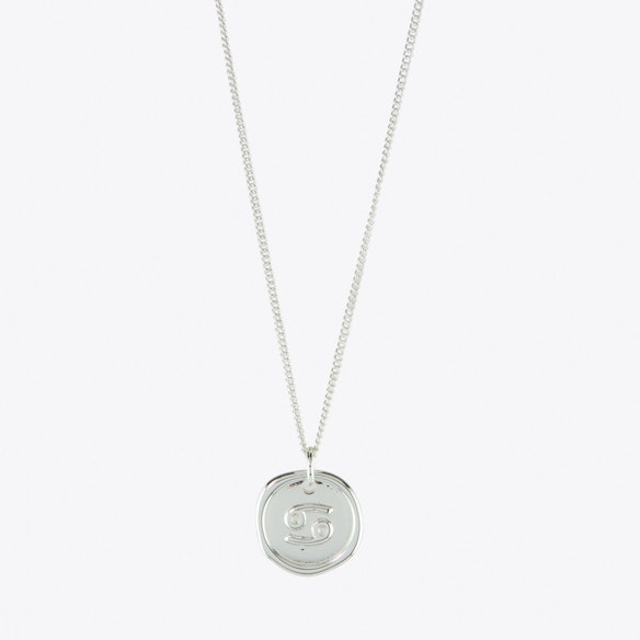 Cancer Zodiac Symbol Charm Necklace In Silver By Js Jewellery Fy