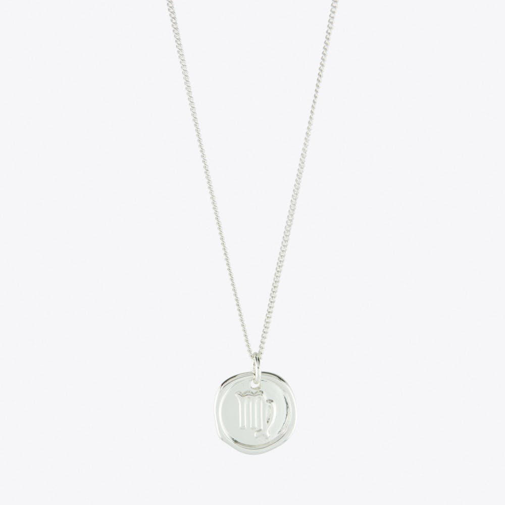 Virgo Zodiac Symbol Charm Necklace in Silver