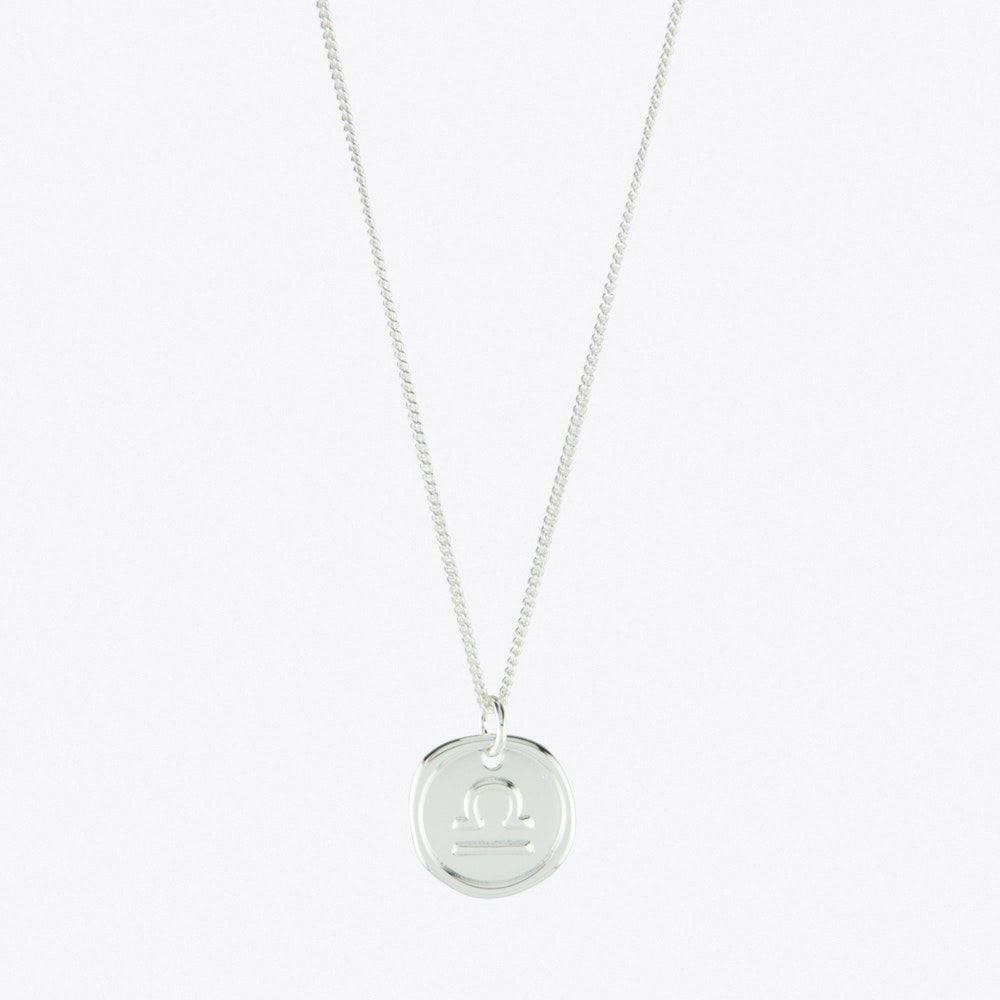 Libra Zodiac Symbol Charm Necklace In Silver By Js Jewellery Fy