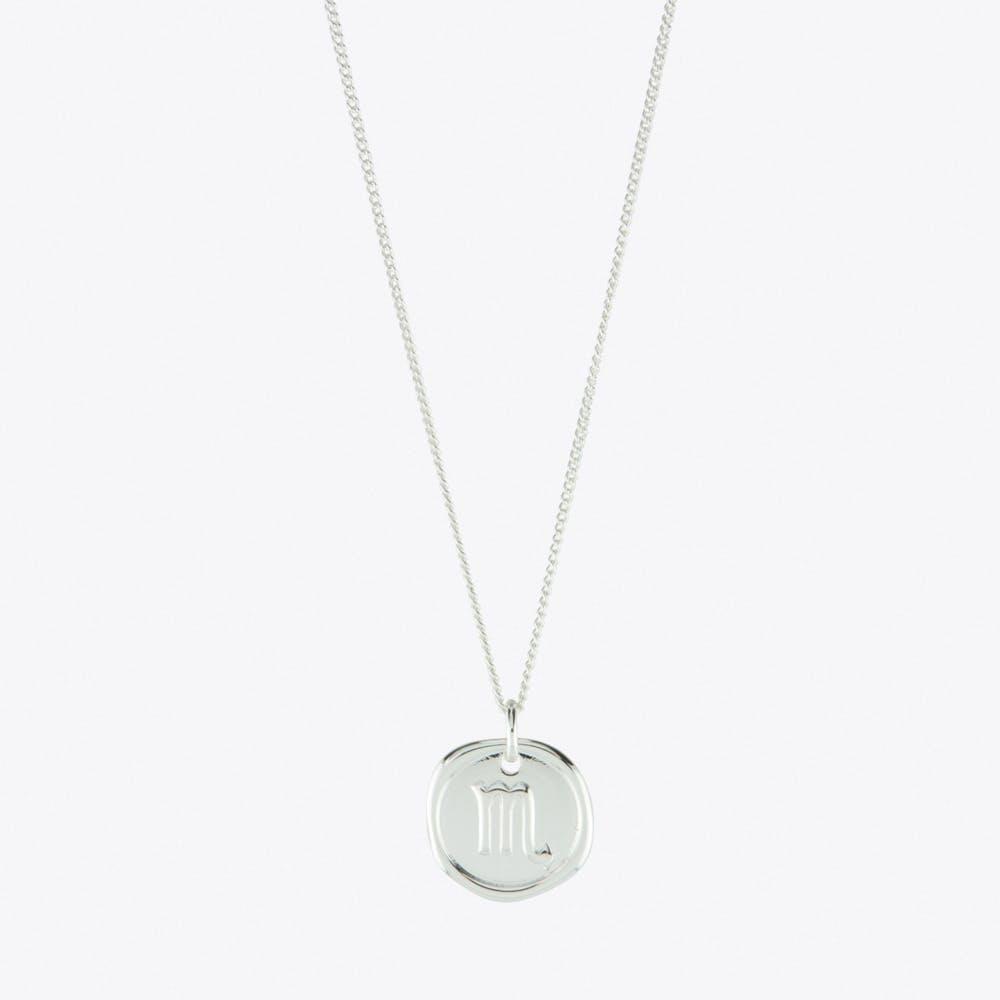 Scorpio Zodiac Symbol Charm Necklace in Silver