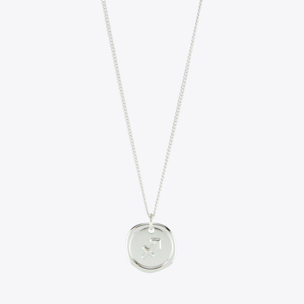 Sagittarius Zodiac Symbol Charm Necklace in Silver