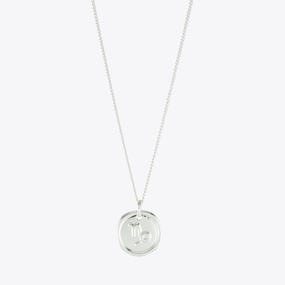 Capricorn Zodiac Symbol Charm Necklace in Silver
