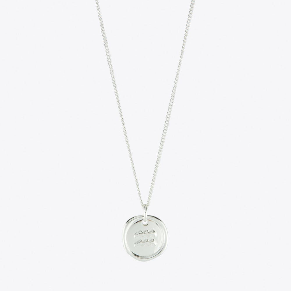 Aquarius Zodiac Symbol Charm Necklace in Silver