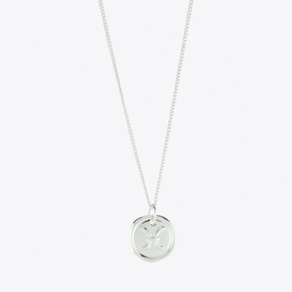 Pisces Zodiac Symbol Charm Necklace in Silver