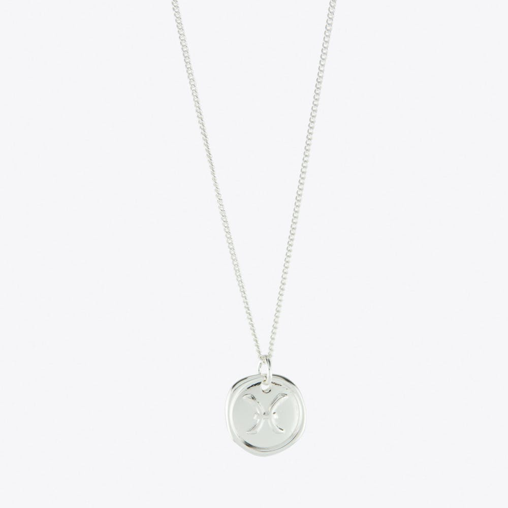 Pisces Zodiac Symbol Charm Necklace in Silver