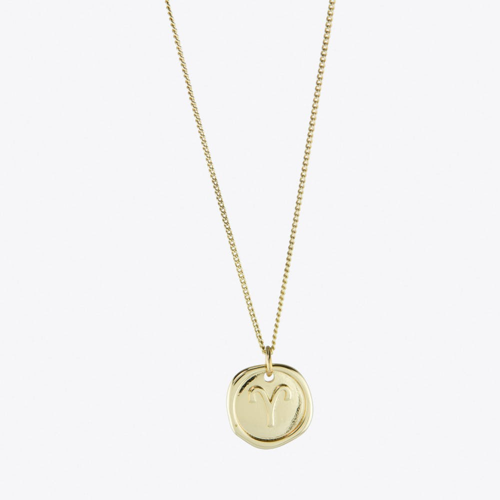 Aries Zodiac Symbol Charm Necklace in Gold