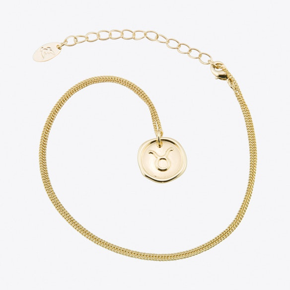 Taurus Zodiac Symbol Charm Necklace In Gold By Js Jewellery Fy