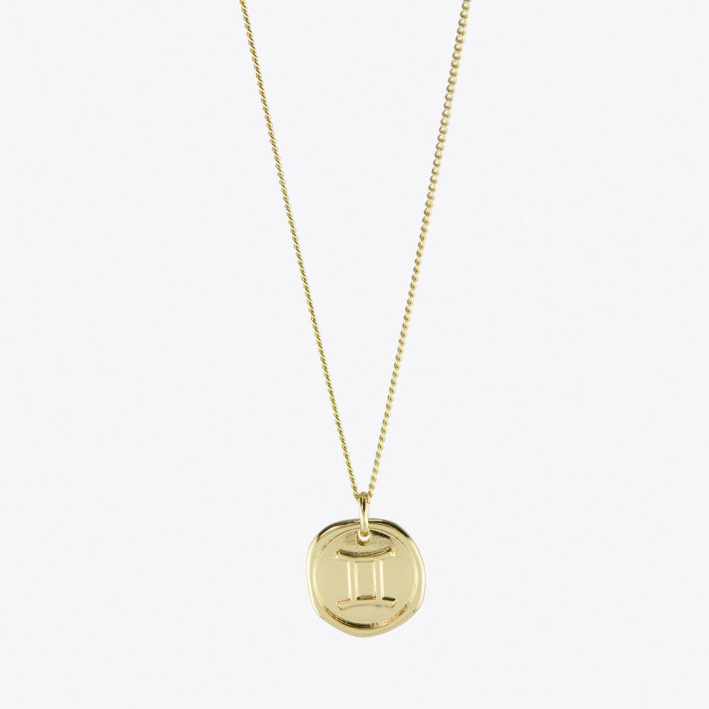 Gemini Zodiac Symbol Charm Necklace in Gold
