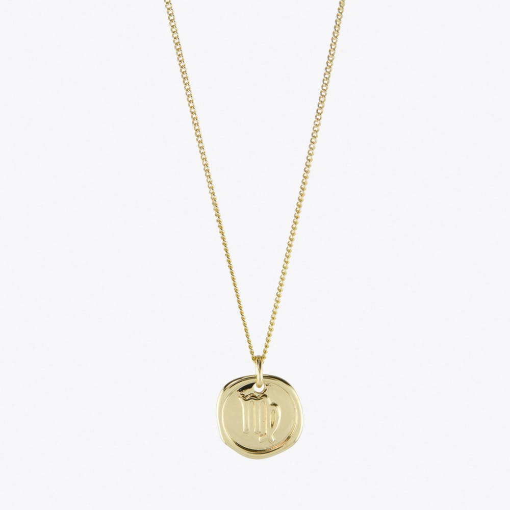 Virgo Zodiac Symbol Charm Necklace in Gold