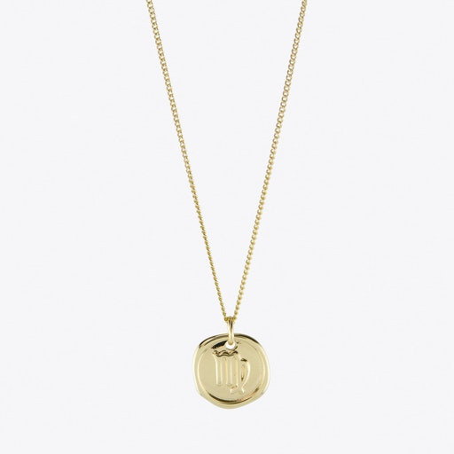 Virgo Zodiac Symbol Charm Necklace in Gold