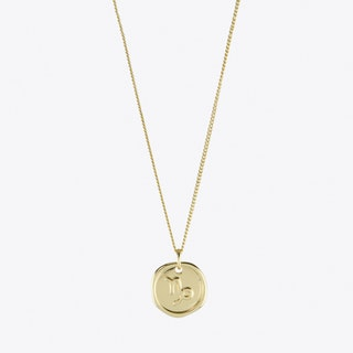Capricorn Zodiac Symbol Charm Necklace in Gold