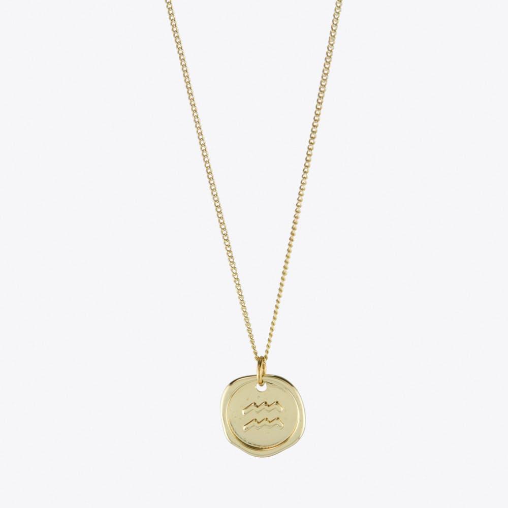 Aquarius Zodiac Symbol Charm Necklace in Gold