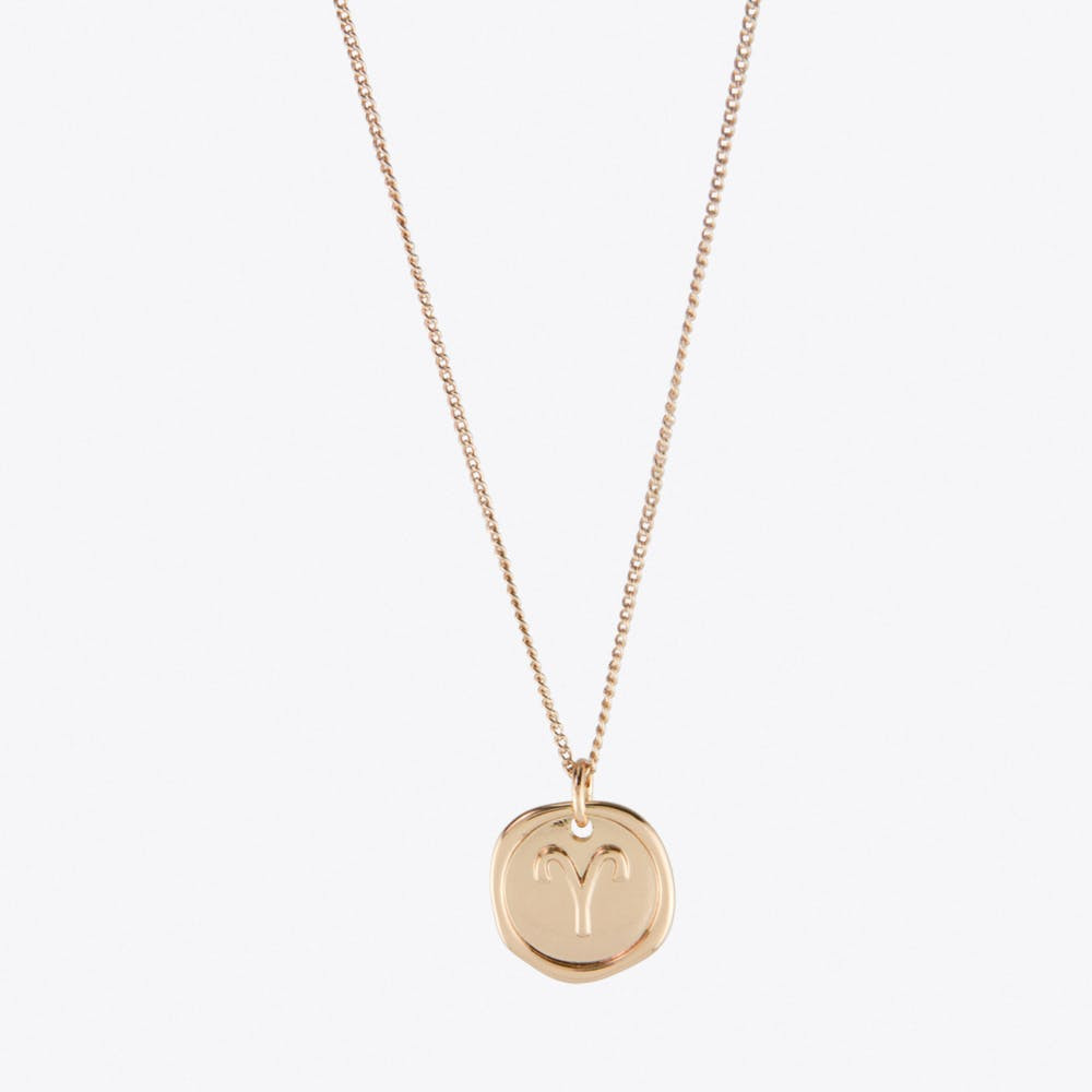 Aries Zodiac Symbol Charm Necklace in Rose Gold