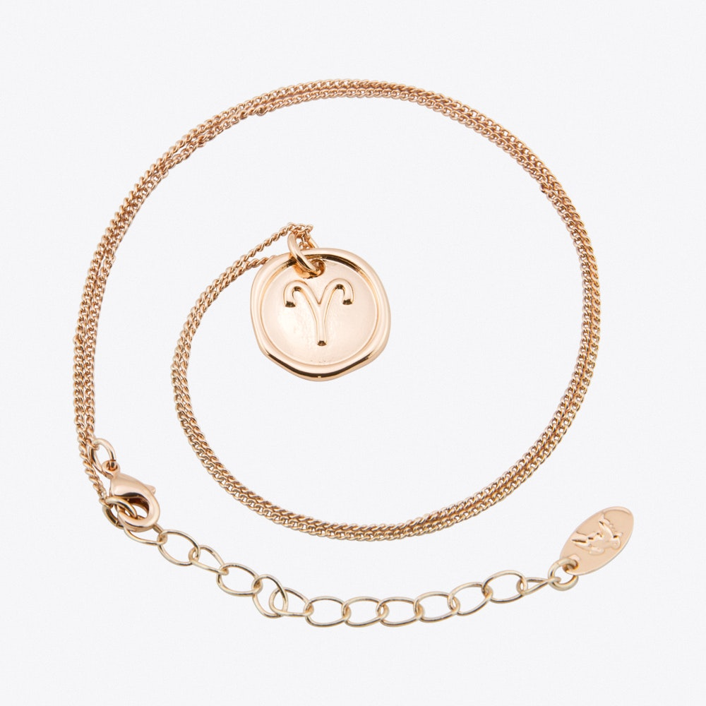 Aries Zodiac Symbol Charm Necklace In Rose Gold By Js Jewellery Fy