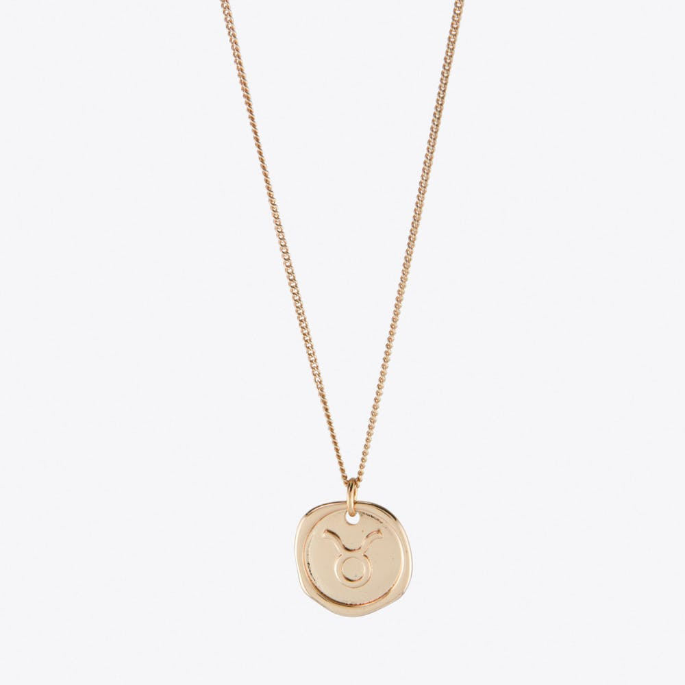 Taurus Zodiac Symbol Charm Necklace in Rose Gold