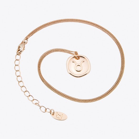 Taurus Zodiac Symbol Charm Necklace In Rose Gold By Js Jewellery Fy