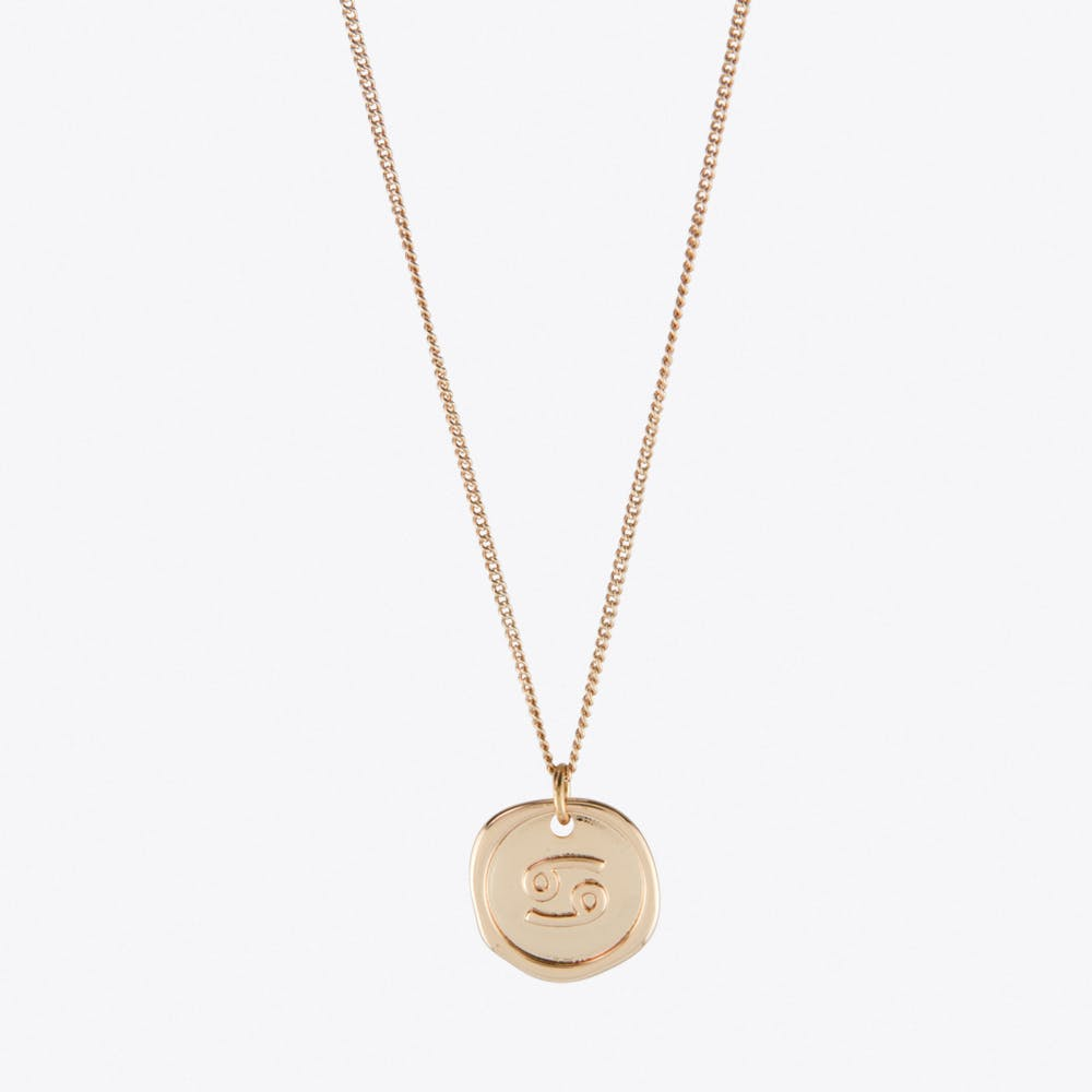 Cancer Zodiac Symbol Charm Necklace in Rose Gold