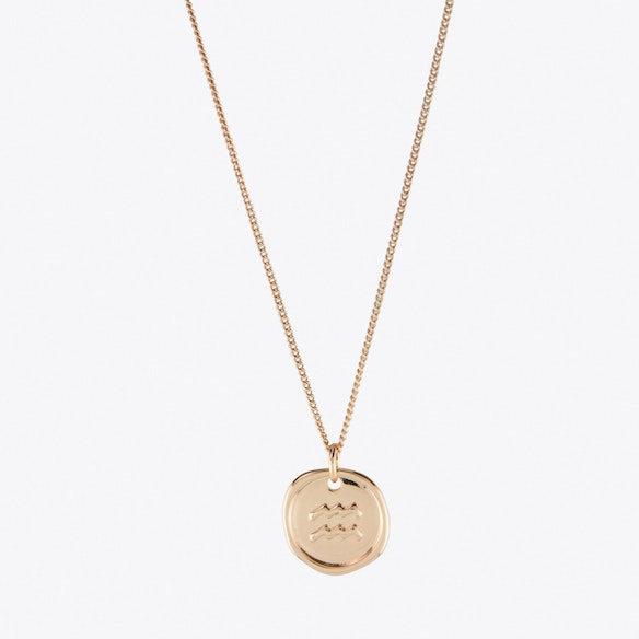Aquarius Zodiac Symbol Charm Necklace In Rose Gold By Js Jewellery Fy