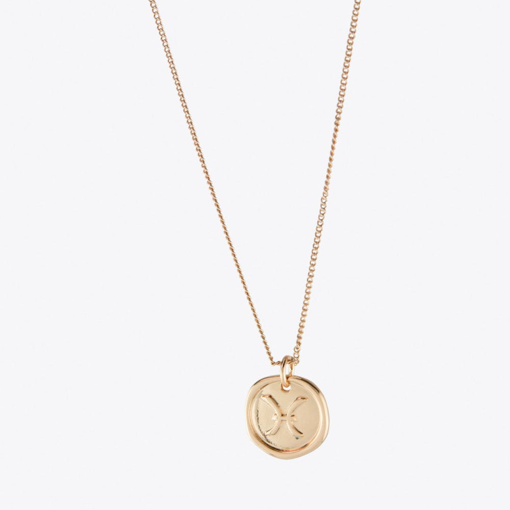 Pisces Zodiac Symbol Charm Necklace in Rose Gold