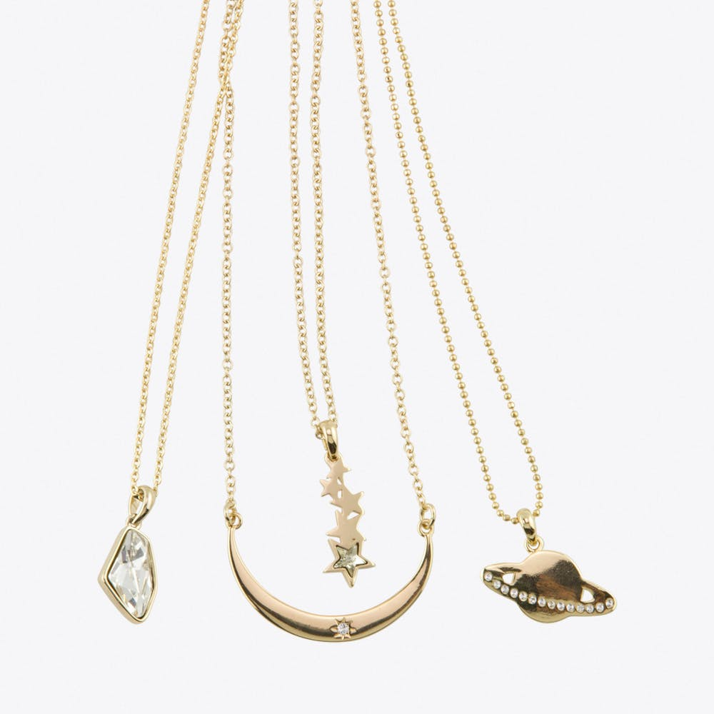Space Layered Necklace Set in Gold