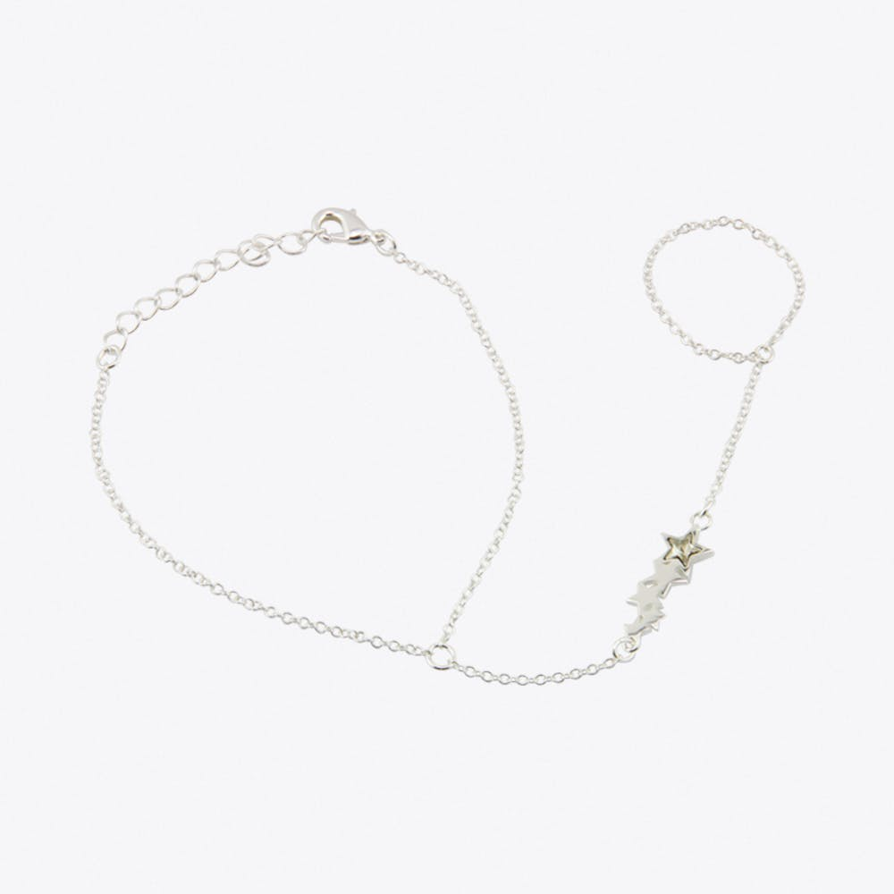 Star Ring To Wrist Bracelet in Silver