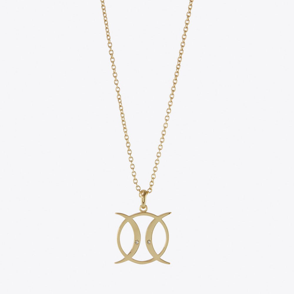 Triple Moon Goddess Circle Necklace in Gold