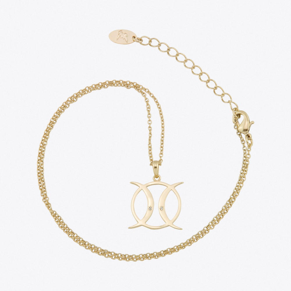 Triple Moon Goddess Circle Necklace In Gold By Js Jewellery Fy